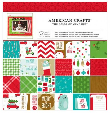 """AC Single-Sided Paper Pad 12""""x12"""" 48/PKG - Be Merry"""