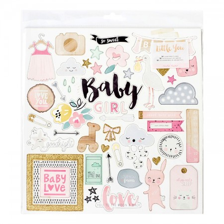Little You Glittered Adhesive Chipboard (Baby girl)