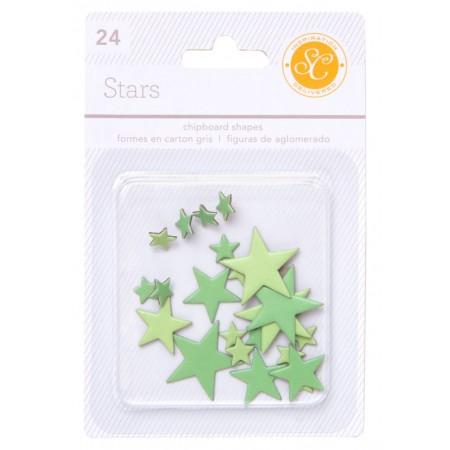 AC Essentials Chipboard - Green Stars