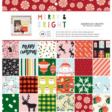 "AC Single-Sided Paper Pad 12""x12"" 48/PKG - Merry & Bright"