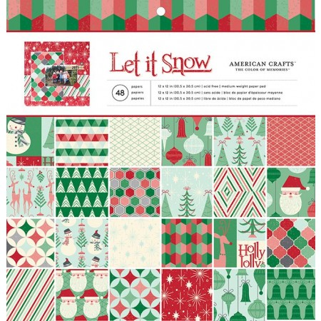 "AC Single-Sided Paper Pad 12""x12"" 48/PKG - Let It Snow"
