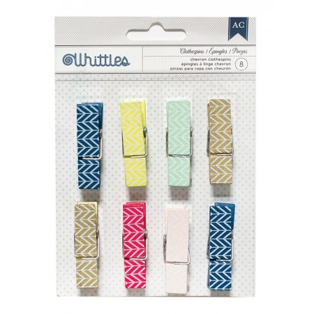 AC Designer Desktop Essentials Clothespins 8/PKG - Chevron