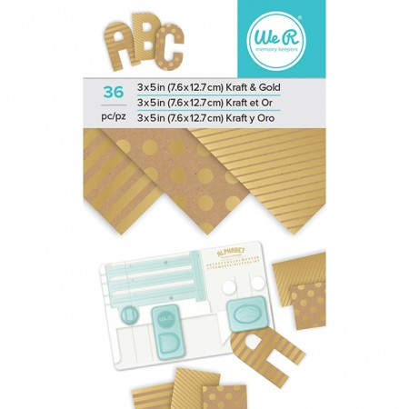 "AC Paper Pad 3""x5"" - Kraft With Gold Foil - 36 Sheets"