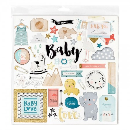 Little You Glittered Adhesive Chipboard (Baby boy)