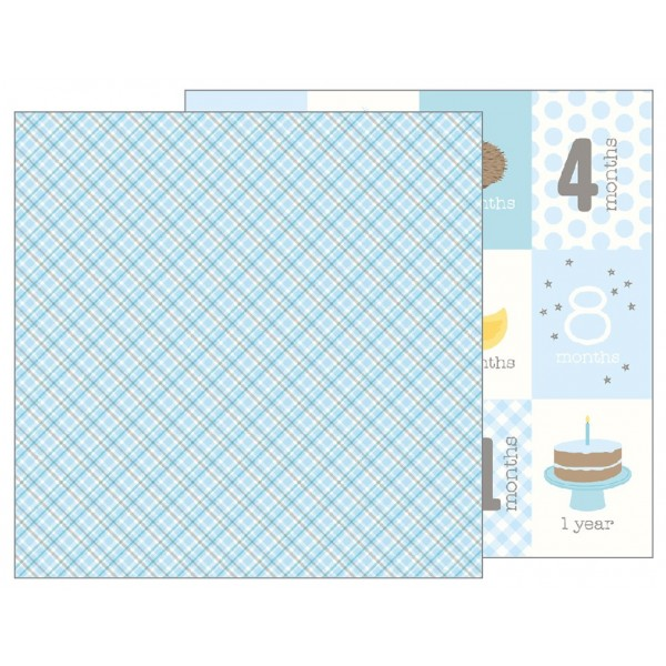 Pebbles Lullaby Collection Baby Boy Plaid - 12 x 12 Double Sided Paper