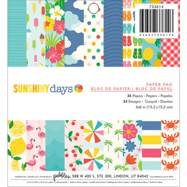 Pebbles - Sunshiny Days Collection - 6 x 6 Paper Pad