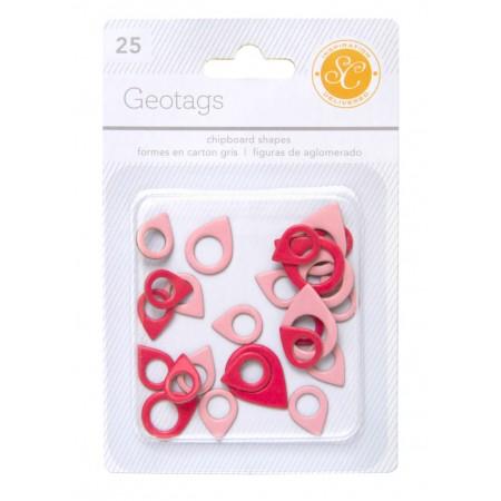 AC Essentials Chipboard - Red/Pink Geo Tag