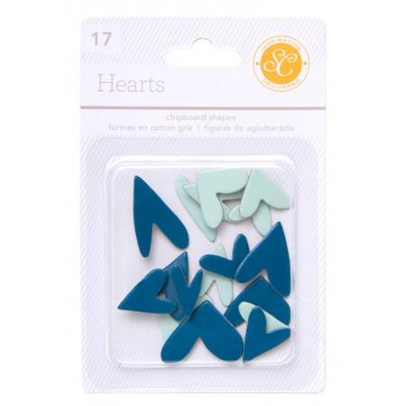 AC Essentials Chipboard - Aqua/Navy Hearts