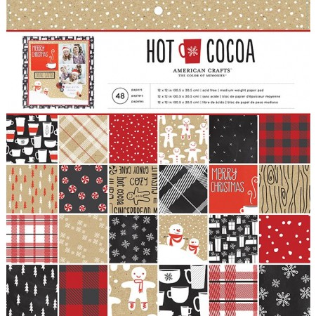 """AC Single-Sided Paper Pad 12""""x12"""" 48/PKG - Hot Cocoa"""