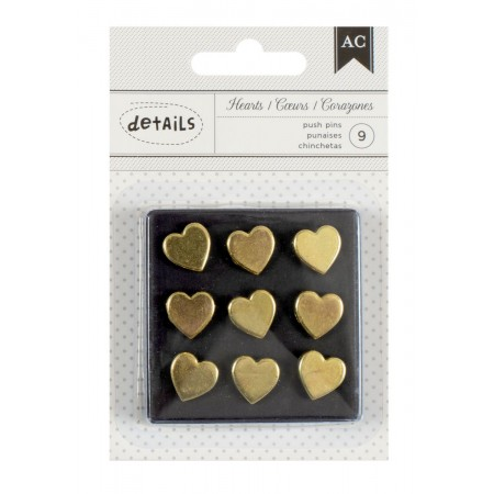 AC Off Push Pin Gold Hearts