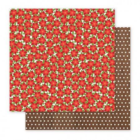 """AC Holly Jolly Double-Sided Cardstock 12""""x12"""" - Poinsettias"""