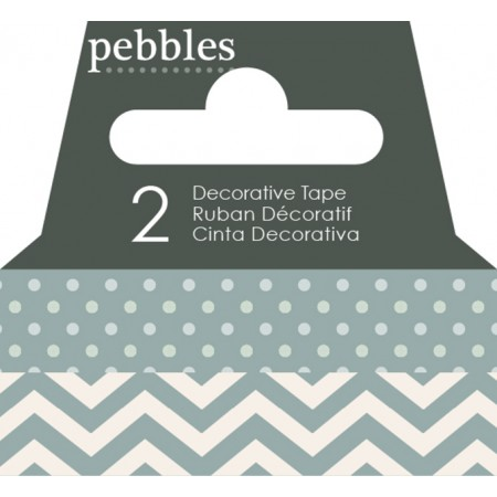 AC Washi Tape - Dot & Chevron - Pebbles Basics - Ash
