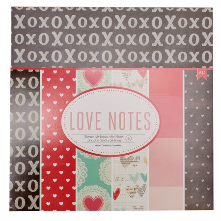 "AC Love Notes Paper 12""x12"" 6/PKG"