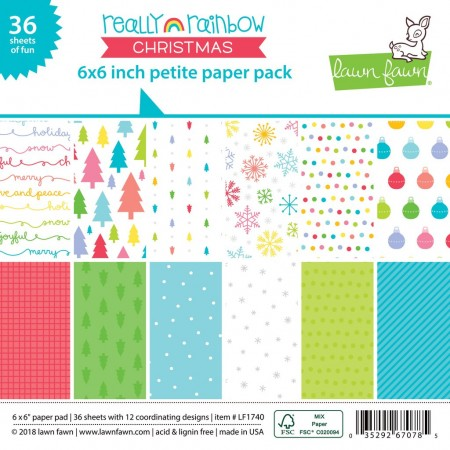 LF really rainbow christmas petite paper pack 6x6 Paper Pad