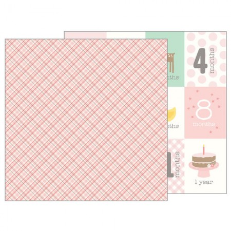 Pebbles Lullaby Collection Baby Girl Plaid - 12 x 12 Double Sided Paper