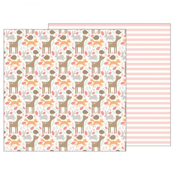 Pebbles Lullaby Collection Woodland Baby Girl - 12 x 12 Double Sided Paper